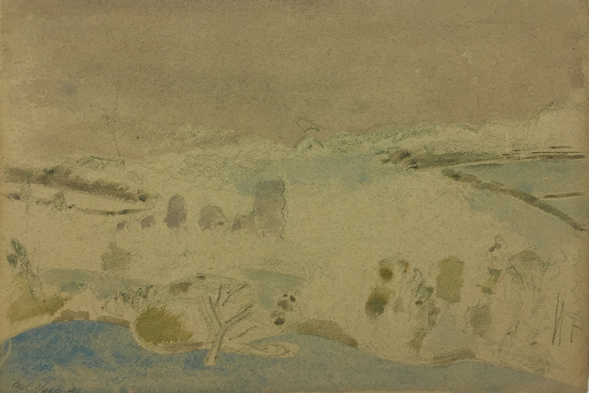 Watercolour by Paul Nash signed and dated 1946