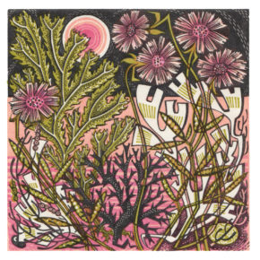 Angie Lewin Sea Pinks Wood Engraving