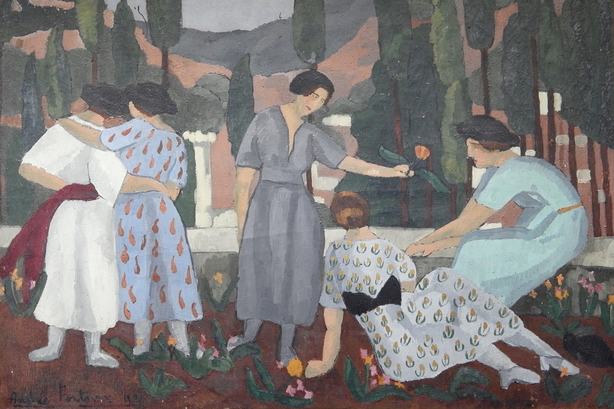 An oil on canvas by Andrée Fontainas dated 1921