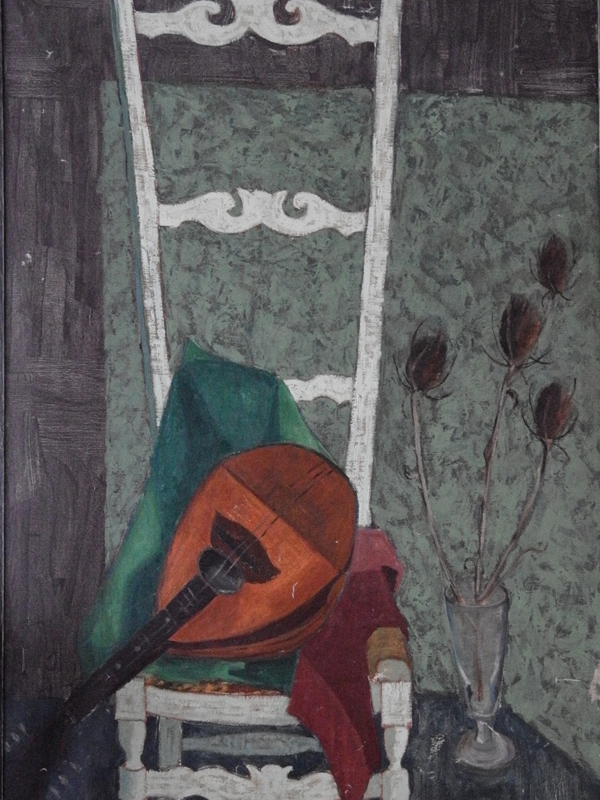 Chair and mandolin, oil on canvas by Bebe Zemborian 1956