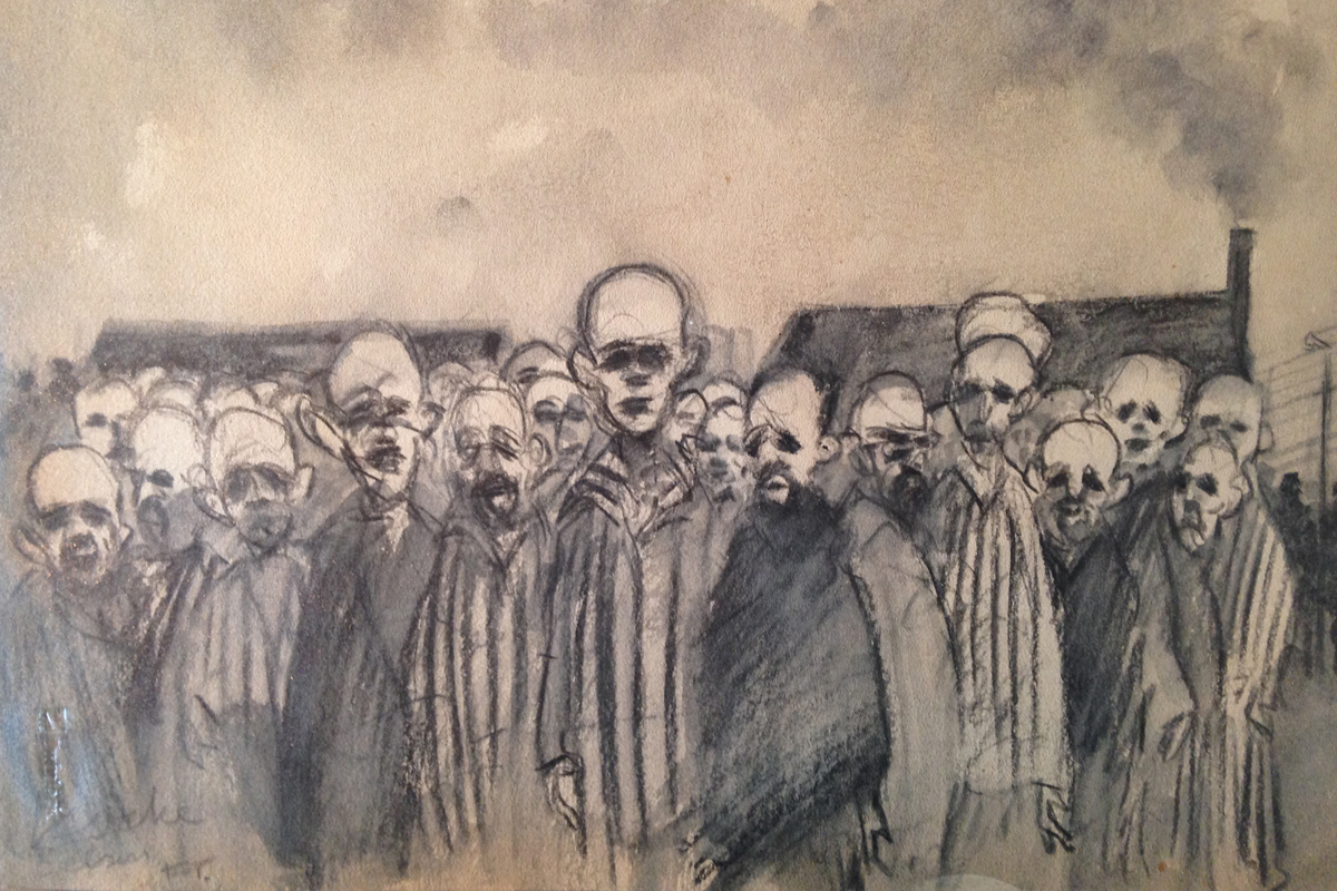 Drawing of Belsen concentration camp by Feliks Topolski 1945