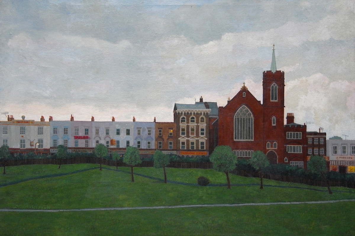 Doreen Fletcher Mile End Park with Church (1988) oil on canvas 51 x 76cm SOLD